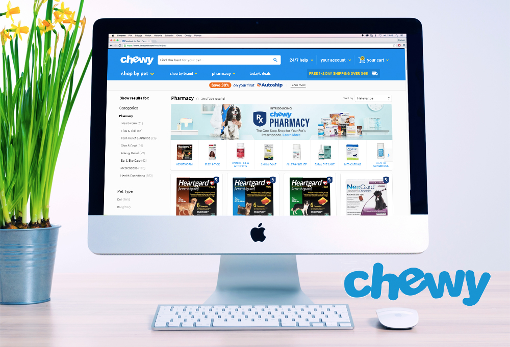 Desktop computer showing Chewy's Pharmacy landing page