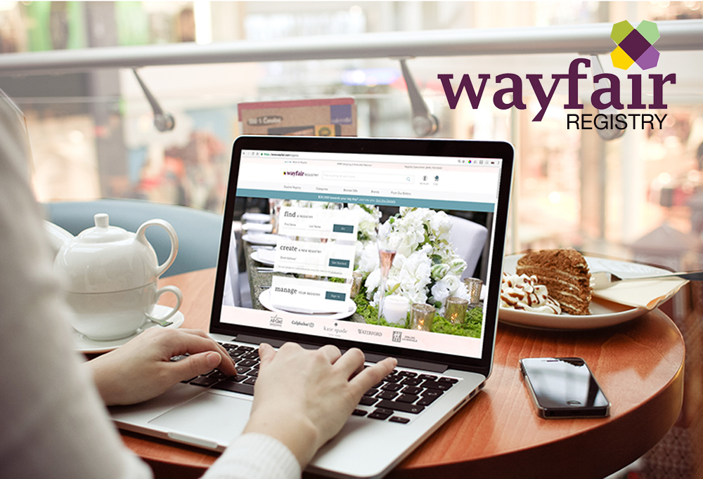 laptop displaying Wayfair Registry homepage